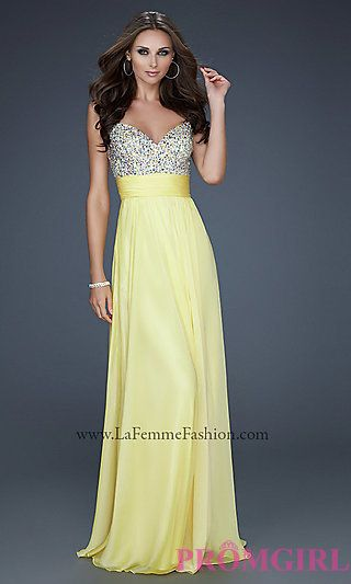 Yellow La Femme Prom Dress at PromGirl.com