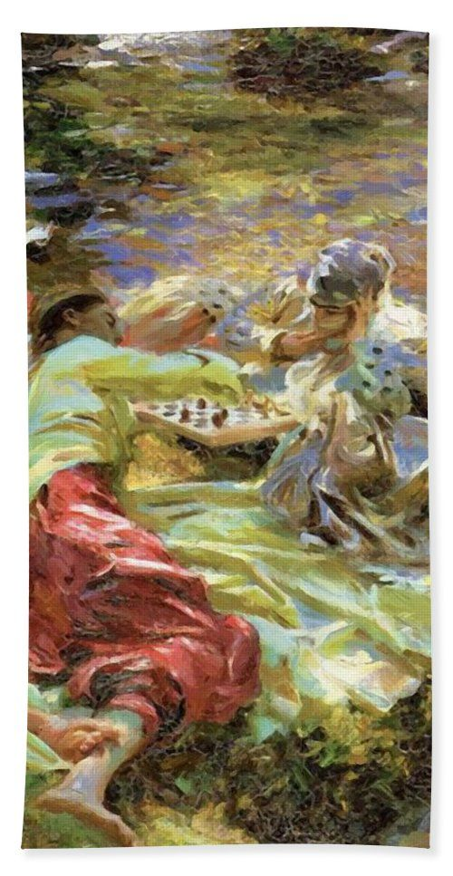 The Beach Towel featuring the painting The Chess Game by Sargent John Singer