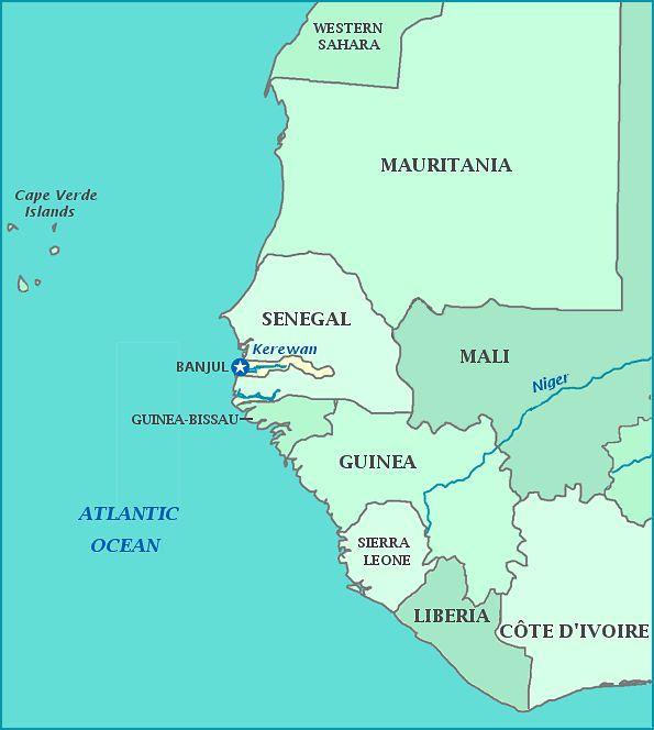 La Gambie est un des plus petits pays du continent africain. C'est un pays anglophone situé en Afrique de l'Ouest.  Il fait frontière avec le Sénégal au nord, au sud et à l'est et est bordé à l'ouest par l'océan Atlantique. Capitale: Banjul. Population : 1,849 million (2013). Wikipédia