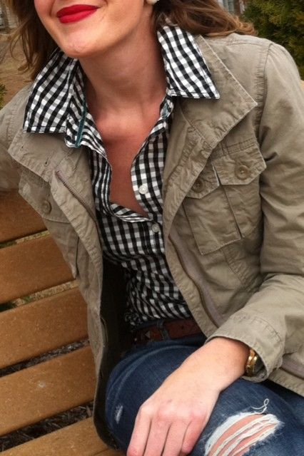 classic for fall--checkered shirt, military jacket, bright red lipstick!