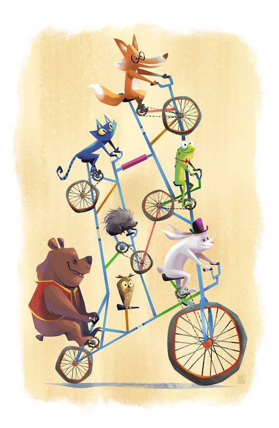 Radical Ride Tall Bike Animal 13x19 Art Print by flimflammery