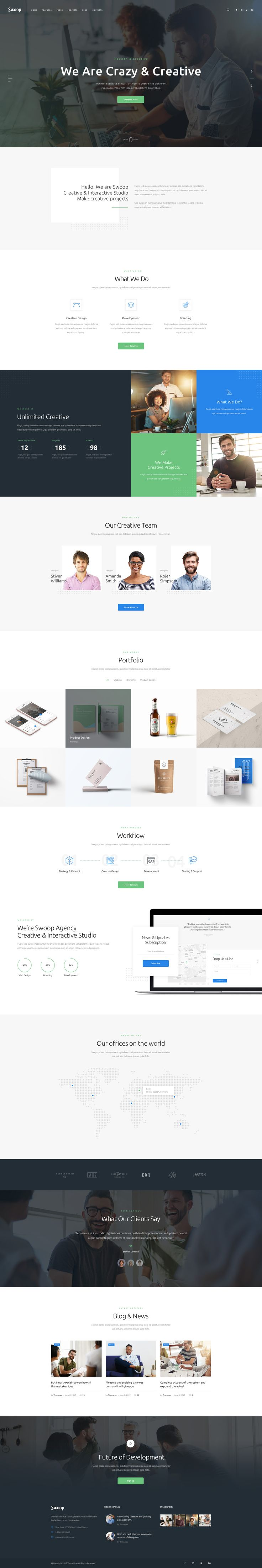 Swoop is a stylish, totally responsive, and easy-to-use WordPress theme best suited for a web design and creative agency, web designer's portfolio, marketing and advertising firm, etc. The theme perfectly fits for both, personal and corporate website.
