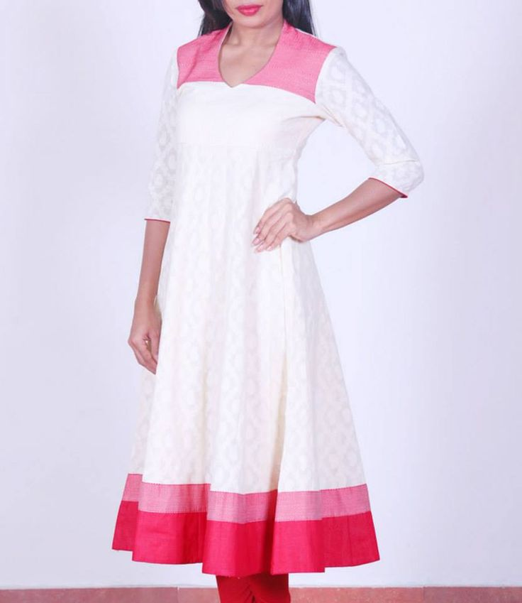 Off-white with red, jacquard cotton #anarkali, Shop at , Shop at http://bit.ly/1sznBDN