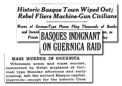 Newspaper story on bombing of Guernica.