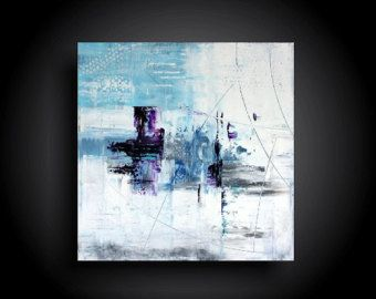 Large Abstract Painting 20 x 48 Modern Canvas Wall by therawcanvas