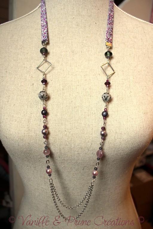 Sautoir liberty et perles grises souris, mauves, vieux rose » Vanille & Prune Créations
