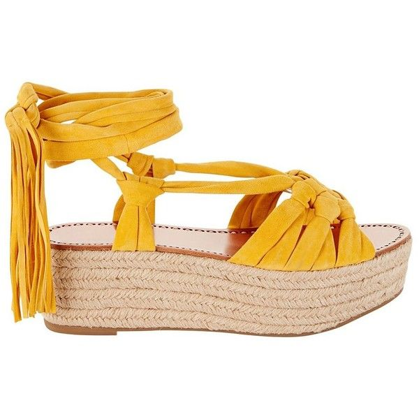 Sigerson Morrison Suede Rope Sole Espadrille (2.190 HRK) ❤ liked on Polyvore featuring shoes, sandals, yellow, espadrilles shoes, yellow espadrilles, flatform shoes, suede sandals and yellow sandals