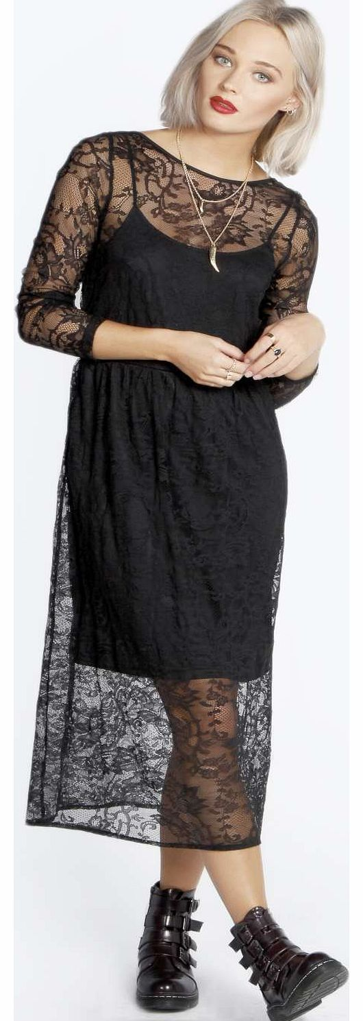 boohoo Lydia Lace Midi Smock Dress - black azz18339 Part punk, part pretty, this layered lace midi dress makes edgy eveningwear easy to pull off! Work it with chunky boots , a dark berry lip and studded clutch bag . http://www.comparestoreprices.co.uk/dresses/boohoo-lydia-lace-midi-smock-dress--black-azz18339.asp