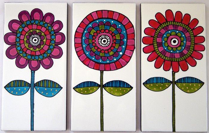 Baldosas de cerámica pintadas
