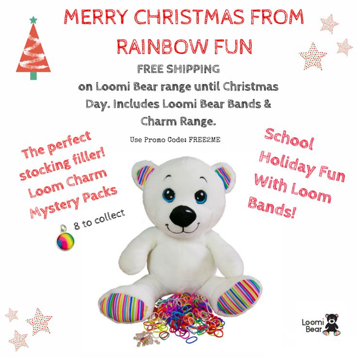 Loomi Bear for Christmas!  The perfect gift for under the tree.  He comes with a pack of loom bands and a rainbow loom charm inside his back pocket.  You can store all your favourite loom bracelets inside his pocket. #loombandstorage #rainbowloombear #loombear #loomibear #loomcharmbear #rainbowloomcharm