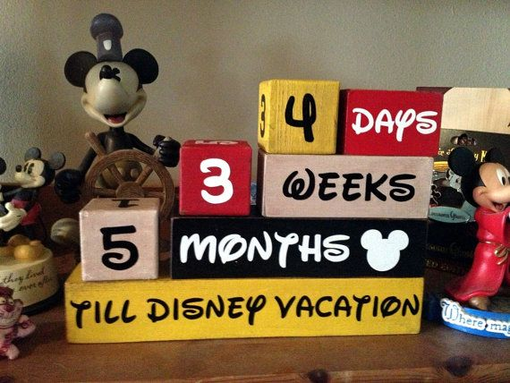 Disney Vacation Countdown Wooden Block Set for Months Weeks and Days