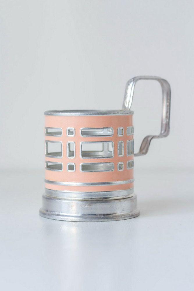 Pale Pink Glass Holder Mid Century Modern Glass Holder