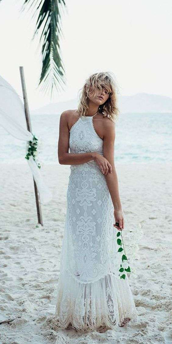 Vestidos de novia 2014: Fotos de diseños sencillos para una boda civil - Vestido de novia para ceremonia civil en la playa