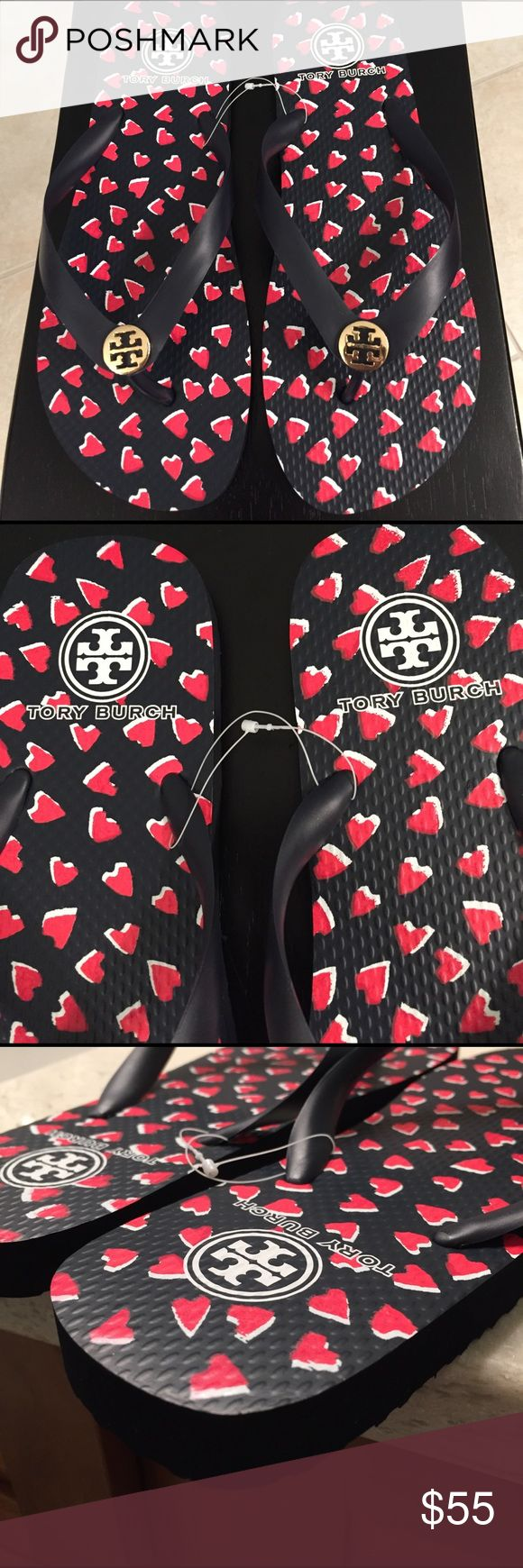 """🆕Tory Burch """"Heart"""" Navy/Red Flip Flips. NWT Soooo cute, these heart ❤️ shape designed flip flops go great with EVERYTHING and are very comfortable. New, with tag stickers, never worn. Tory Burch Shoes Sandals"""