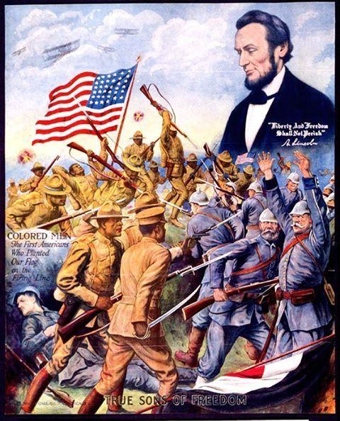 WW1 american poster, directed at the african-americans who fought over in Europe    #warpropaganda #propaganda #propagandaposter #war #warhistory #ww1 #worldwarone #worldwar1 #thewartoendallwars #thegreatwar #us #usa #patriotism #patriotic #starsandstripes #starspangledbanner #military #militaryhistory #usarmy #unitedstates #unitedstatesofamerica #africanamerican #africanamericans #blackamericans #afroamericans #abelincoln #abrahamlincoln