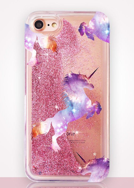 Unicorn Glitter Clear Phone Case