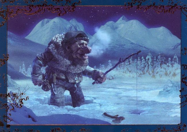 another of Ivar Rødningen's wonderful troll paintings, with the Rondane massif in the background
