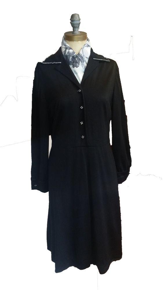 vestito donna nero luisa spagnoli vintage taglia 44 pura lana made in italy