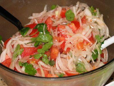 Ensalada chilena. Sweet onions, ripe tomatoes and some cilantro.