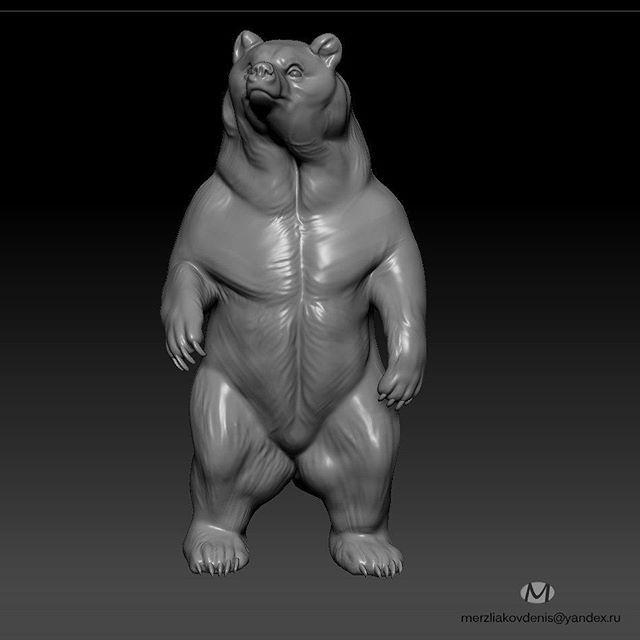 #bear #animal #3dmodel #3d #cnc #3dprint #3dprinting #медведь #sculpture #zbrush #brownbear #model #modeling #designed #design #скульптура #statue #чпу #work