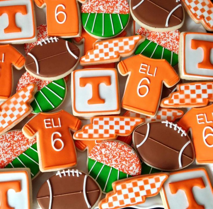 University of Tennessee football themed birthday cookies