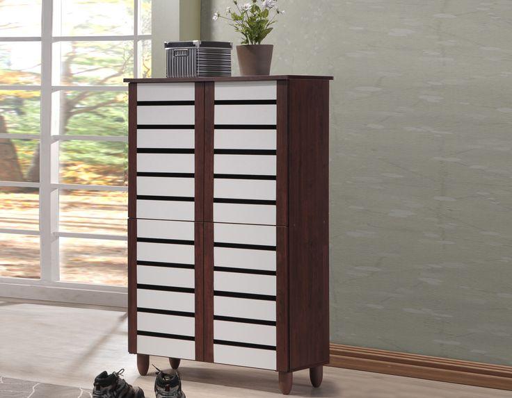 gisela oak and white 2tone 4 door shoe cabinet