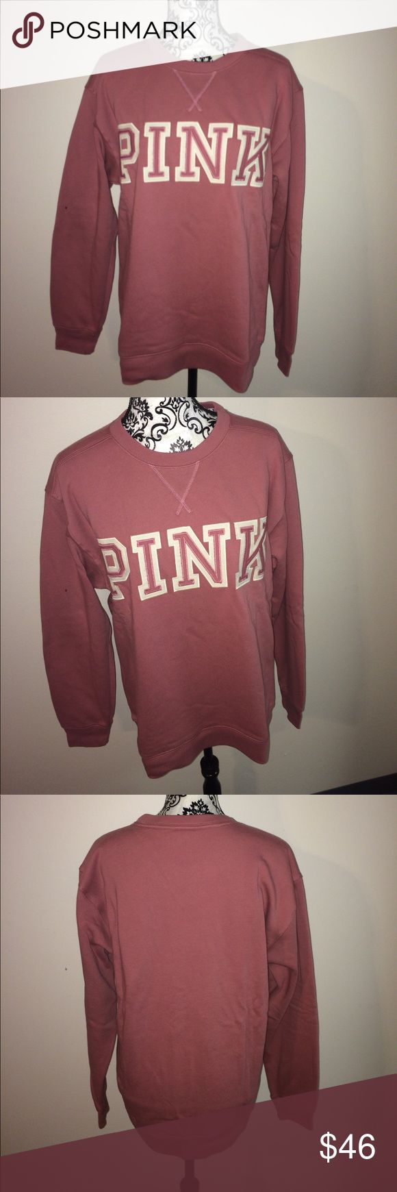 VS PINK soft begonia Crewneck Brand new! As you can tell from the photo of the inside, it's still nice and fuzzy and hasn't been worn or washed! It was an online order for a Christmas present and I spent over $70 on this because I had it wrapped and paid extra for shipping and taxes. But crewnecks retail for $46.95 on their website. True color is the first few photos on the mannequin. Size medium & oversized. I have the same one in gray and it's my favorite sweatshirt. Stickers are free with…