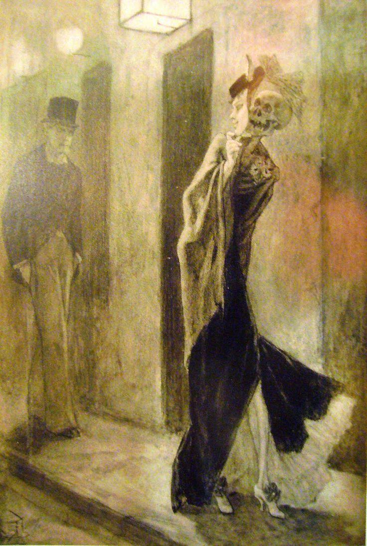 Félicien Rops ( 1833 - 1898 ) - Parodie humaine , Coin de rue quatre heures du matin - aquarelle