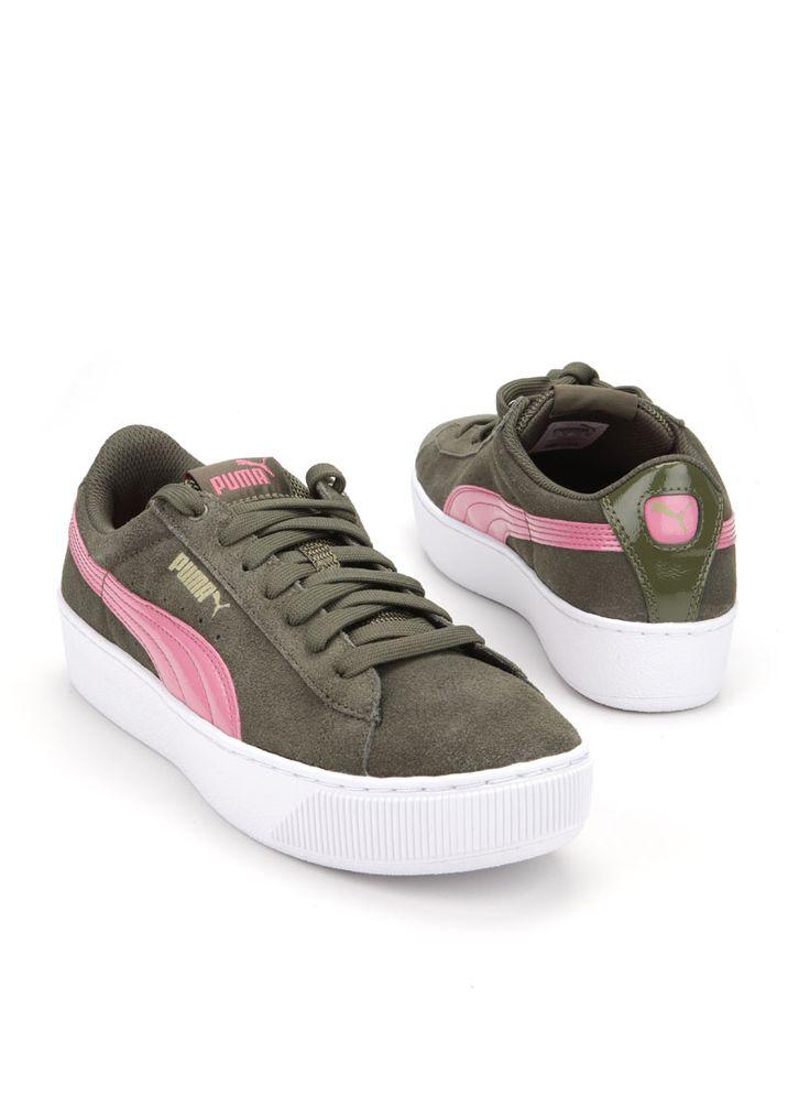 Puma sneaker  Description: Groene sneakers van Puma. Deze damesschoenen hebben een bovenwerk gemaakt van leer. De binnenvoering is gemaakt van textiel en hebben een kunststof zool.  Price: 64.99  Meer informatie
