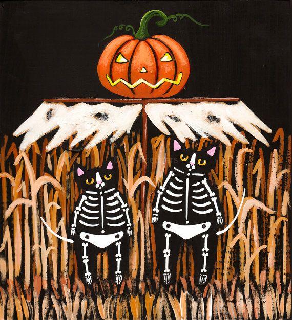 The Scarecrow Original Halloween Cat Folk Art by KilkennycatArt