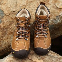 High-quality Men's Outdoor Waterproof Genuine Leather Hiking Warm Plush  Lining Boots - NewChic Mobile