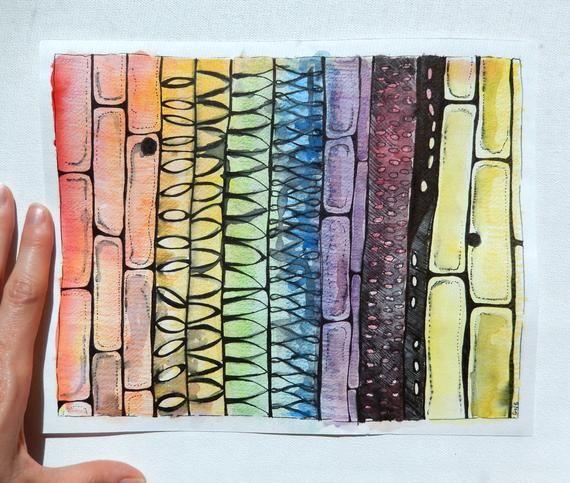 8 X 10 Abstract Science Painting Rainbow Xylem Botany Biology