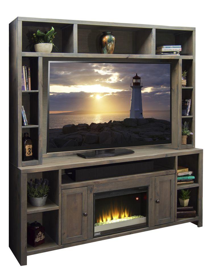 "Joshua Creek 84"" TV Stand with Electric Fireplace | Wayfair"