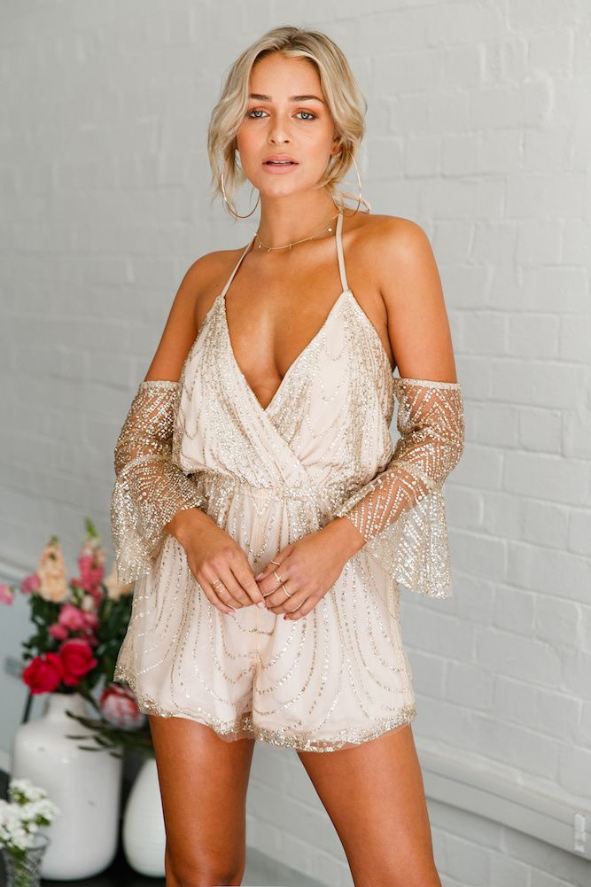 Golden Girl #Playsuit Champagne