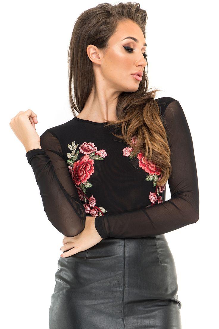 Megan McKenna Black Mesh Floral Embroidered Bodysuit
