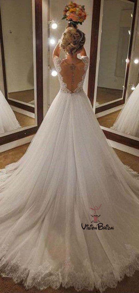 4cc594ac7fe3 Classy Lace Top Cap Sleeve Scoop Neckline Long A-Line Tulle Wedding Dresses  #wedding #weddingdresses #weddingdresses2018 #weddingdresseslace