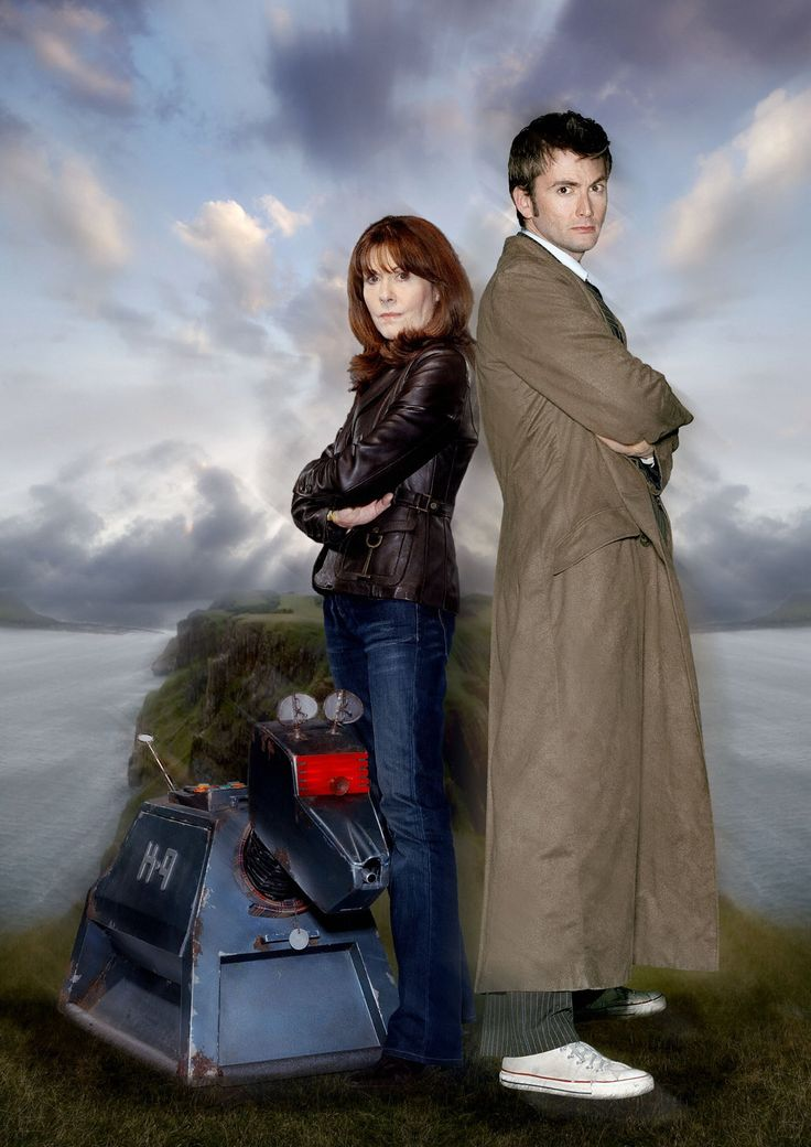 K9, Sarah Jane Smith (Elisabeth Sladen) and the tenth Doctor (David Tennant)