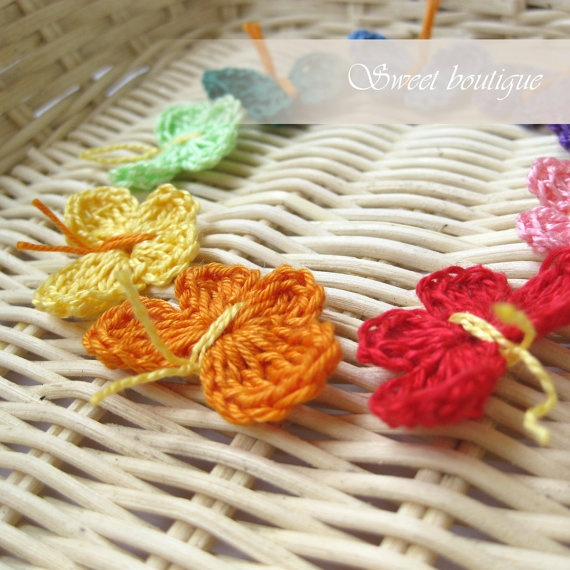 Crochet Tiny Butterfly appliques rainbow  Set of by MSweetboutique, $5.50