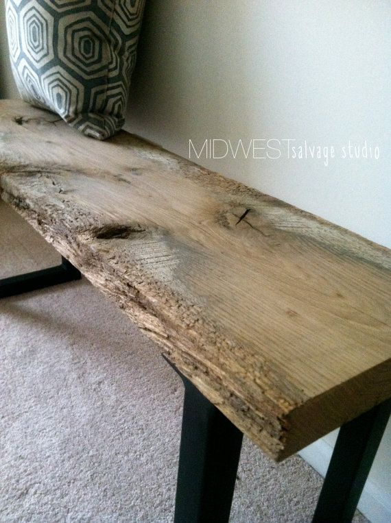 3ft Reclaimed Barn Wood Bench with Steel by MidwestSalvageStudio, $230.00 - 50 Best Images About Dining Table/chairs On Pinterest Reclaimed