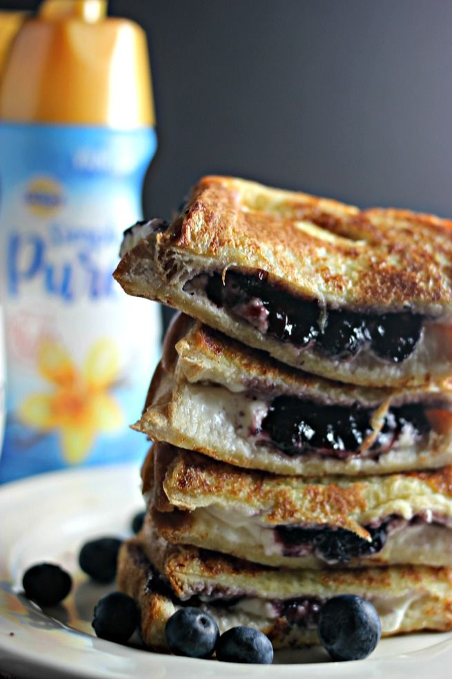 Scrumptious Blueberry Cream Cheese Stuffed French Toast recipe.  This is better than a restaurant! #IDSimplyPure ad