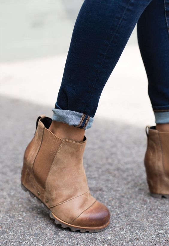 d4a5773e05 54 Lovely Street Style Shoes To Update You Wardrobe Now   Style   Shoes,  Sorel lea wedge, Fashion