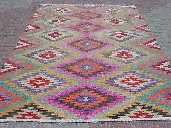 MODERN Bohemian Turkish Kelim Rug Carpet Handwoven Kilim by sofART, $645.00: Turkish Kelim, Decoration, Rug Hook N, Carpet Handwoven