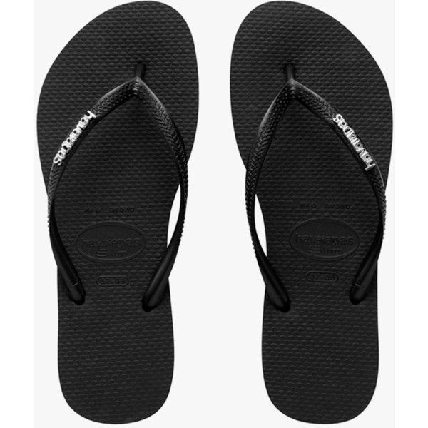 Havaianas Slim Logo Metallic (130 BRL) ❤ liked on Polyvore featuring shoes, sandals, flats, strap shoes, slim shoes, strappy flats, metallic flats and flat heel shoes