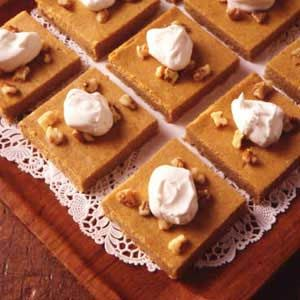 Pumpkin Cheesecake Dessert Recipe | Taste of Home RecipesDesserts Recipe, Cheesecake Desserts, Health Food, Cheesecake Bar, Dessert Recipes, Cheesecake Squares, Pumpkin Cheesecake Recipe, Yummy Cake, Healthy Desserts
