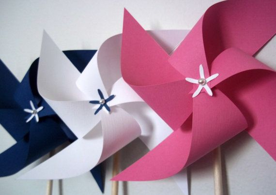 Girls Paper Pinwheels. Nautical Party Decor & Favors. Navy Blue, White, Pink. Baby Shower (set of 6) via Etsy