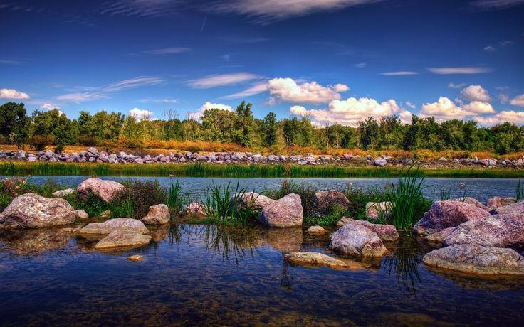 bacau city, gheraiesti park, Румыния, деревья, romania, парк, камни