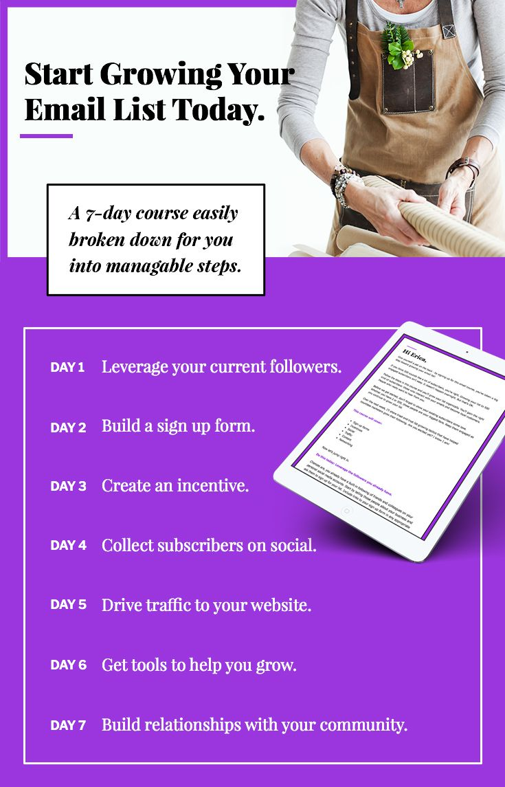 A 7-day email course to help you get your first 500 subscribers and be on your way to #emailmarketing success.