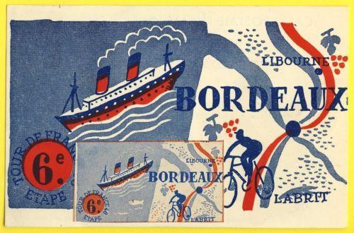 cpa-Cyclisme-Velo-BORDEAUX-BIARRITZ-6e-Etape-Cycling-Fietsen-TOUR-de-FRANCE-1948