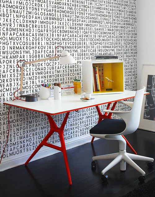 Love the wallpaper and the hint of red.