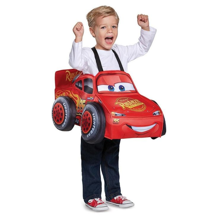 Halloween Toddler Boys' Lightning McQueen 3D Costume One Size, Multi-Colored
